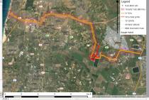 """מפת תוואי הצינור והמתקן הפטרוכימי המתוכנן לפי תמ""""א 37/ח."""