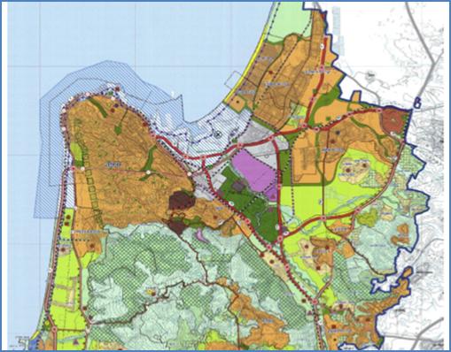 מפת אזור חיפה כפי שהיא מוצגת בתסקיר ההשפעה על הסביבה